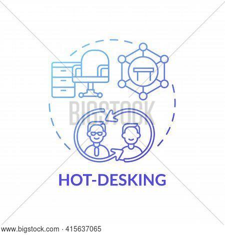 Hot-desking Concept Icon. Office Environment Idea Thin Line Illustration. Office Organization System