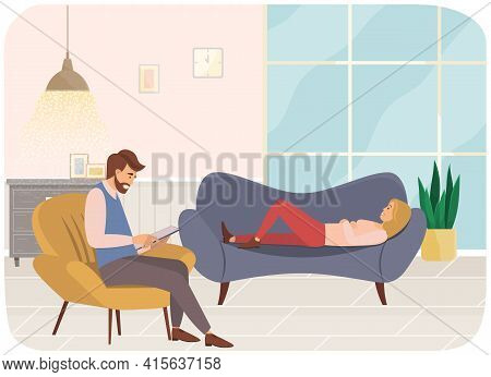 Young Woman Is Lying On Couch In Psychologist S Office, Male Psychiatrist Sits Opposite, Takes Notes
