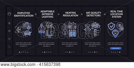 Futuristic Smart Worksite Onboarding Vector Template. Responsive Mobile Website With Icons. Web Page