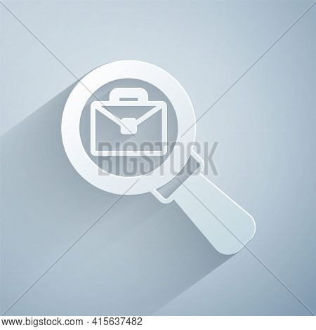 Paper Cut Magnifying Glass With Briefcase Icon Isolated On Grey Background. Job Hunting Icon. Work S