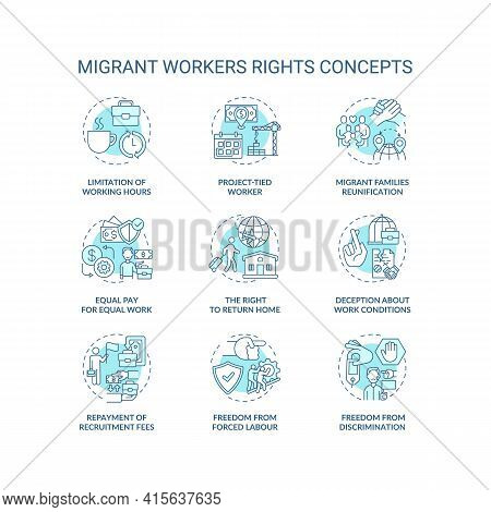 Migrant Worker Right Blue Concept Icons Set. Limitation Of Working Hours. Project Tied. Immigrant La