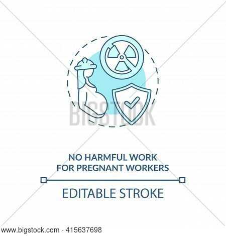 No Harmful Work For Pregnant Workers Blue Concept Icon. Expecting Mother Health Safety. Migrant Work