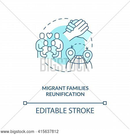 Migrant Families Reunification Blue Concept Icon. Parents With Children Together Abroad. Immigrant W