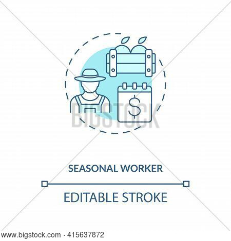Seasonal Worker Blue Concept Icon. Temporary Work. Short Term Job. Apple Picking. Migrant Worker Rig