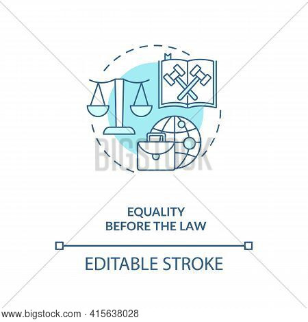 Equality Before The Law Blue Concept Icon. Legislation, Court Justice.attorney Defense. Migrant Work