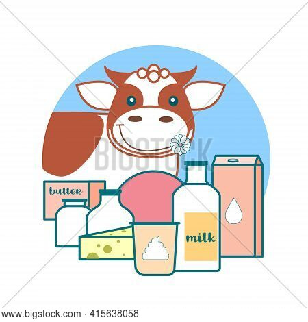 Logo Of Dairy Products. Vector Cartoon Character Cow And Dairy Farm Products.