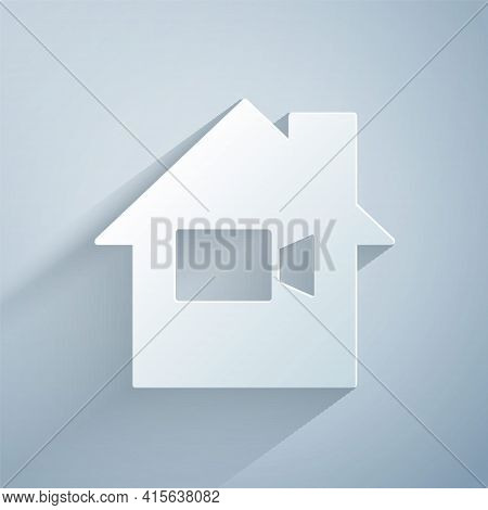 Paper Cut Video Camera Off In Home Icon Isolated On Grey Background. No Video. Paper Art Style. Vect