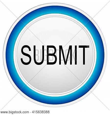 Submit Button Blue On White Backround - Illustration