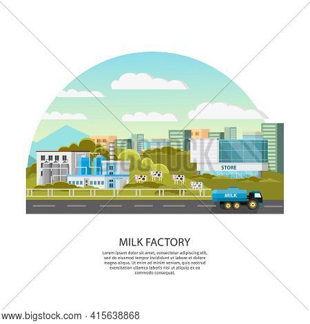 Milk Factory Template With Modern Plant Chimneys Landscape Cows And Truck Vector Illustration