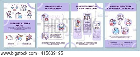 Migrants Rights Abuse Brochure Template. Informal Labor Intermediary. Flyer, Booklet, Leaflet Print,
