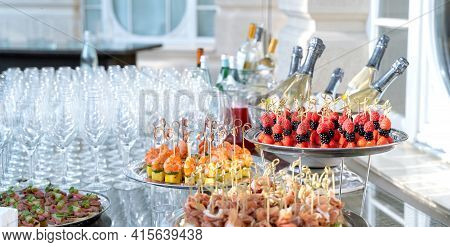 Wedding Day Recepton. Buffet Table. Catering Service. Plates With Sweet Canape With Berries, Raspber