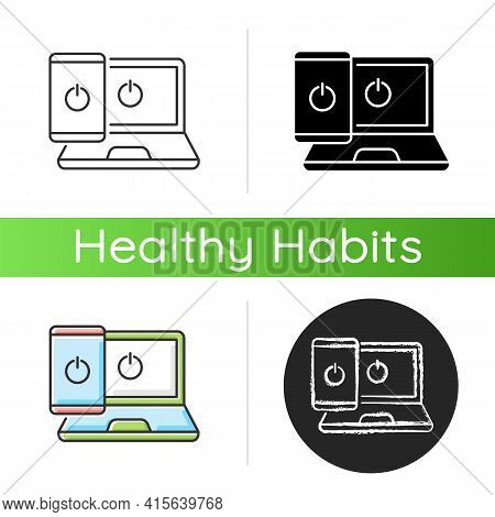 Going Offline Icon. No Online Activity. Stop Gadget Addiction. Refuse Device For Healthy Lifestyle H