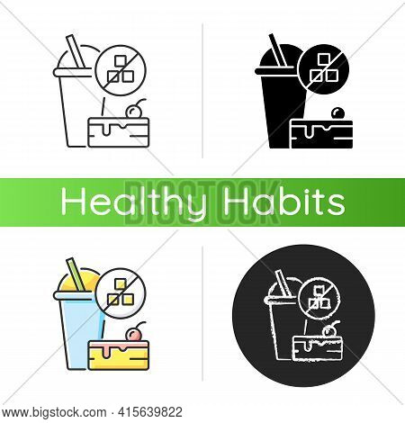 No Added Sugar Icon. Healthy Food. Weight Loss. Stop Overeating. Unhealthy Junk Food. Nutritious Die