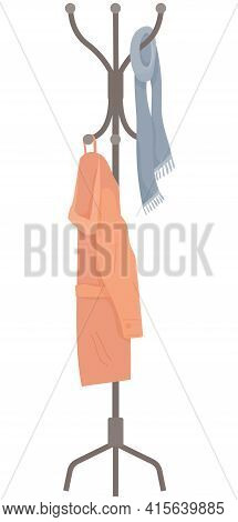 Wooden Floor Coat Rack - Hanger For Cothes With Jacket And Scarf Isolated On White Background