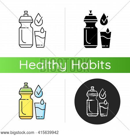 Drinking Enough Water Icon. Stay Hydrated. Refreshment From Liquid Intake. Drink Fluid, Healthy Life