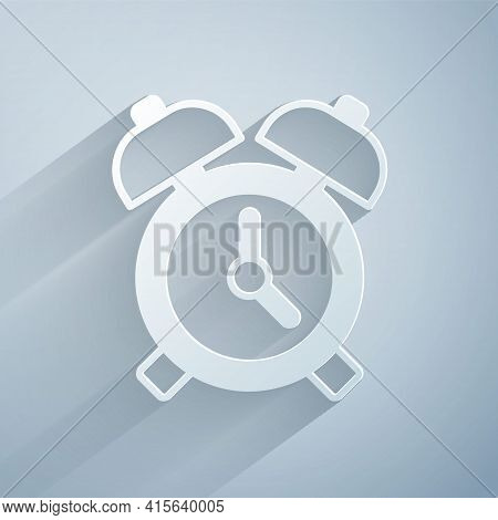 Paper Cut Alarm Clock Icon Isolated On Grey Background. Wake Up, Get Up Concept. Time Sign. Paper Ar