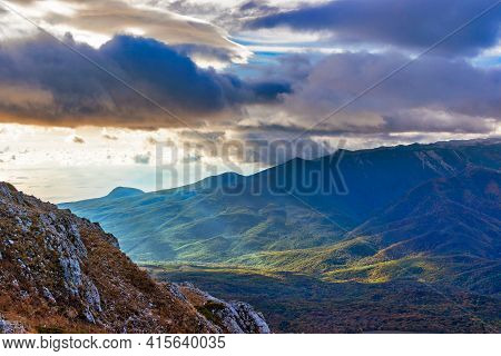 Mountains And Forests Of Crimea On An Autumn Morning
