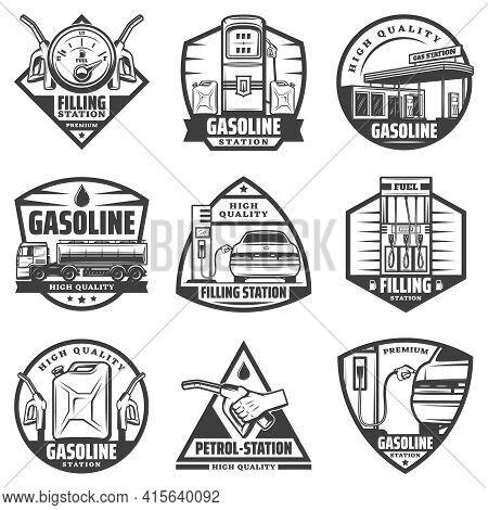 Vintage Monochrome Petrol Station Labels Set With Fuel Gauge Pump Nozzles Car Refilling Canister Tru