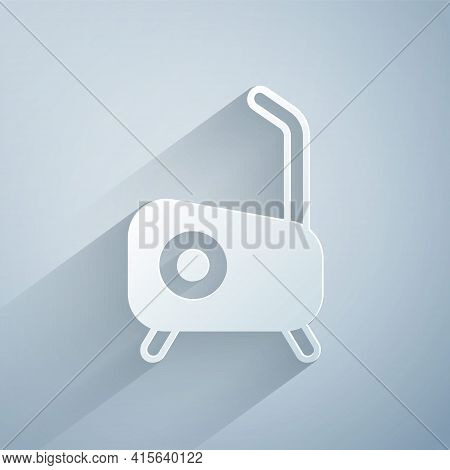 Paper Cut Stationary Bicycle Icon Isolated On Grey Background. Exercise Bike. Paper Art Style. Vecto