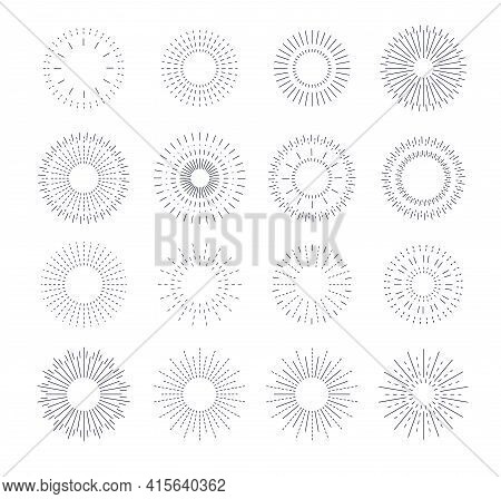 Line Vintage Sunburst. Circle Solar Burst, Radiant Frames Design. Graphic Rays Flare, Blasting Stars