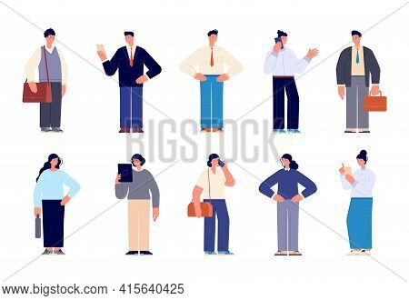 Business Team Characters. Professional Men, Female Employee Or Executives. Happy Office People, Dive