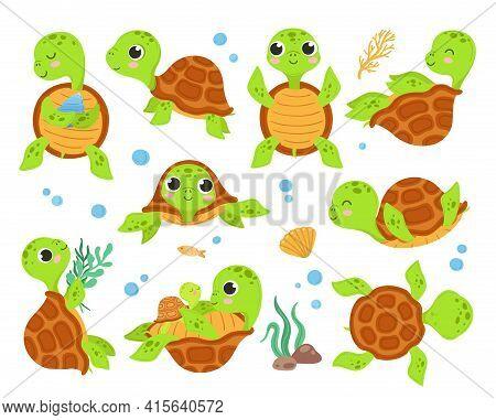 Cartoon Turtles. Animal Tortoise, Smiling Turtle Different Poses. Walk Action Running Cute Wild Char