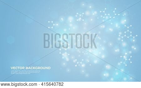 Connected Molecules Background Design. Medical Biotechnology, Chemical Banner. Molecule Structure, M
