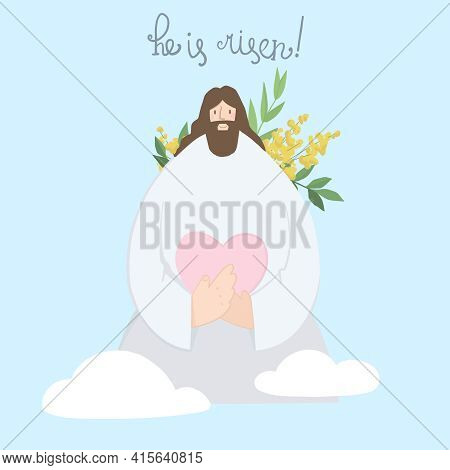 Cute Illustration Of Jesus Christ Holding A Heart In His Hands Against The Background Of The Sky And