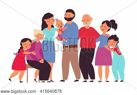 Big Family Together. Cute People, Mom Grandpa Grandmother With Baby. Flat Standing Group, Cartoon Gr