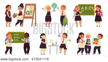 Kids On Lessons. School Girl On Lesson, Science Children Characters. Cartoon Child Study, Collaborat