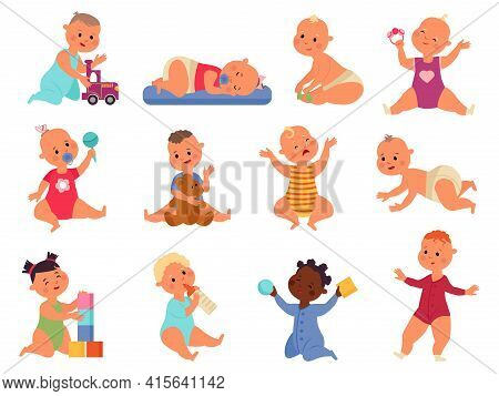 Baby Play With Toys. Children Toy, Child Playing With Blocks. Little Kids Or Babies, Isolated Fun To