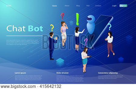 Mans And Women Chatting With Chatbot Application. Isometric Artificial Intelligence. Ai And Business