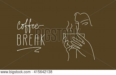 Coffee Or Tea Cup In Hand. One-line Drawing Of The Coffee Shop Logo. Warming, Fragrant Tea Drink, Ca