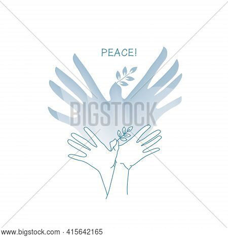 A Dove Of Peace Created From The Shadow Of Hands. A Hand Gesture Indicating A Bird With A Branch In