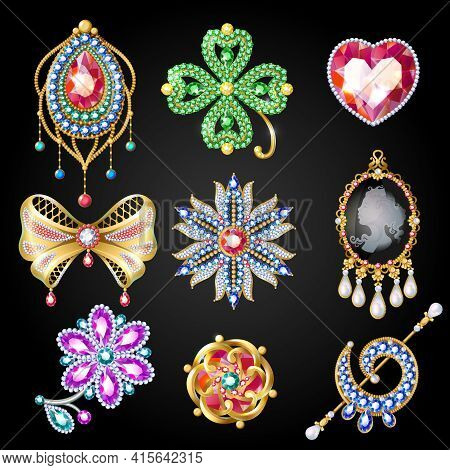 Cartoon Colorful Beautiful Jewelry Collection Of Glossy Brooches With Nice Gems And Jewels Isolated