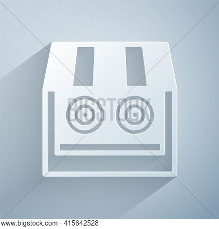 Paper Cut Shooting Gallery Icon Isolated On Grey Background. Shooting Range. Paper Art Style. Vector