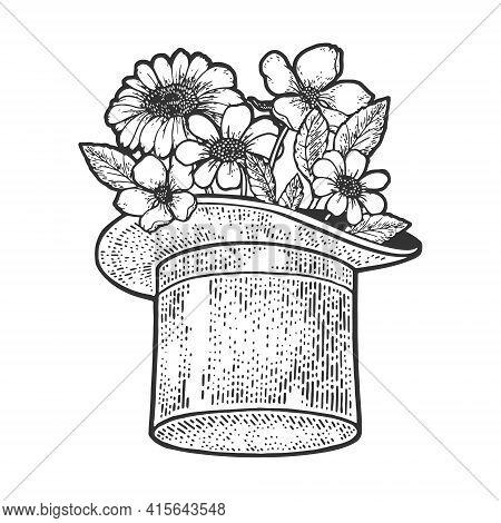 Flowers In Top Hat Cylinder Sketch Engraving Vector Illustration. T-shirt Apparel Print Design. Scra