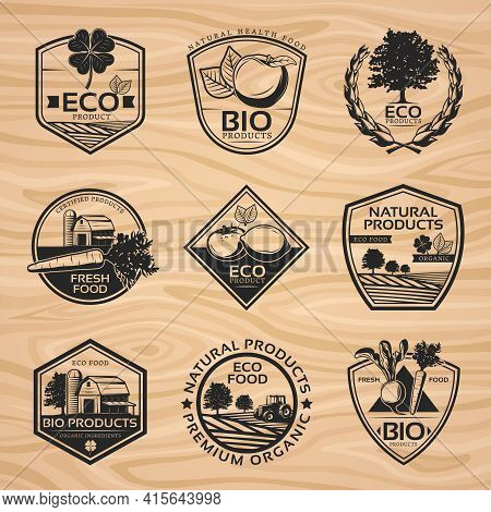 Vintage Natural Labels Collection With Bio Organic Healthy Products Plants And Farming Elements On W