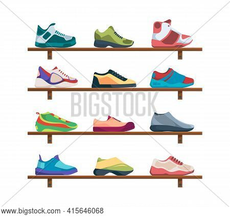 Sneakers Collection. Sport Footwear Athletic Fashioned Colored Shoes Garish Vector Casual Running Sn