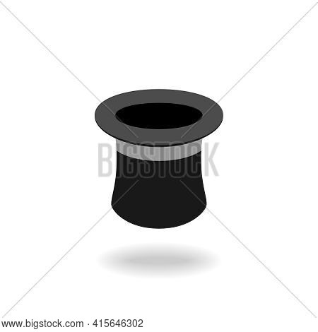 Illusionist Top Hat Icon. Black Top Hat Graphic Sign Isolated On White Background. Vector Illustrati