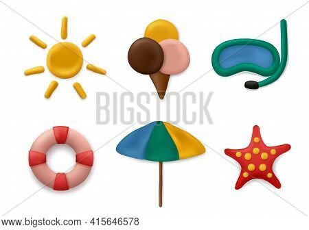 Plasticine Modeling Summer Objects. Clay Artwork Sea Or Marine Sun Objects Fishes Palm Tree Kids Scu