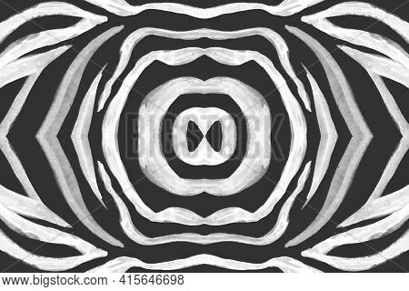 Seamless Zebra Stripes. Abstract Safari Banner. Watercolour Zoo Skin. Black Camouflage Wallpaper. Gr