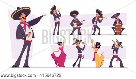 Mexican People. Authentic Nacional Clothes For Mexican Characters Traditional Happy Persons Musician
