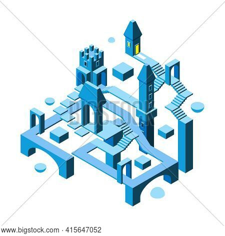 Isometric Maze Building. 3d Architectural Object Big Building With Many Impossibile Ways And Doors S