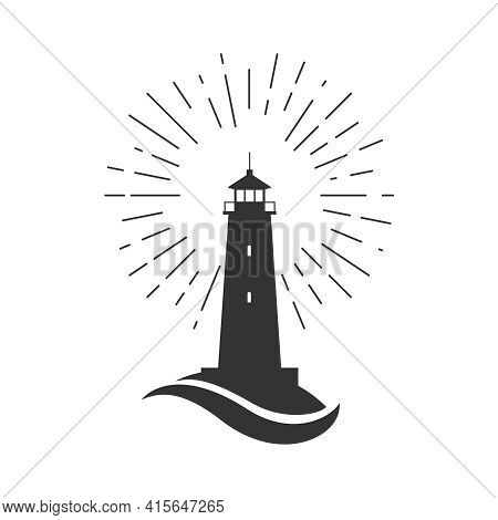 Lighthouse Symbol. Light Of Lighthouse Sign Isolated On White Background. Template Design. Vector Il