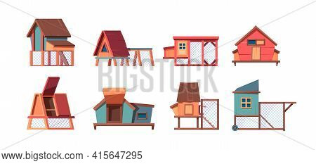 Chicken Coop. Wooden Houses In Village Poultry Farm Living Places For Hen And Broilers Garish Vector