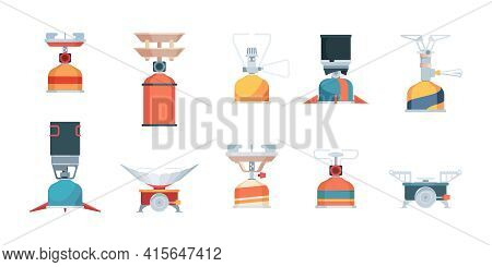 Expedition Gas Stove. Wildness Camp Kitchen Items Fire Outdoor Cooking Garish Vector Flat Illustrati