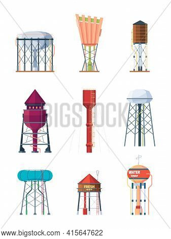 Water Towers. High Industry Tank Containers For Safe Water Big Reserve Metal Rural Storage Garish Ve