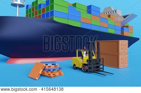Cargo Ship And Stick Man Forklift Driver With Pallet For Import Export And Goods ,logistic Import Ex