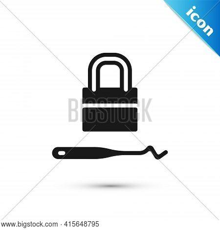 Grey Lockpicks Or Lock Picks For Lock Picking Icon Isolated On White Background. Vector